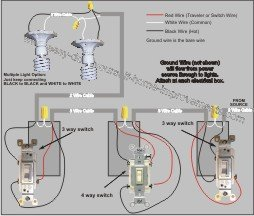 how to wire multiple light fixtures one switch diagram images option 2 power to switches