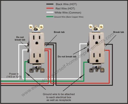 split receptacle multiple wiring diagram
