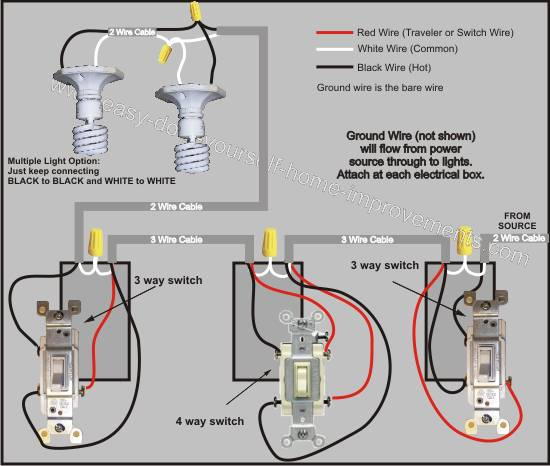 4 Way Light Wiring Diagram - Schematics Online  Way Switch Wiring Diagram Light Middle on