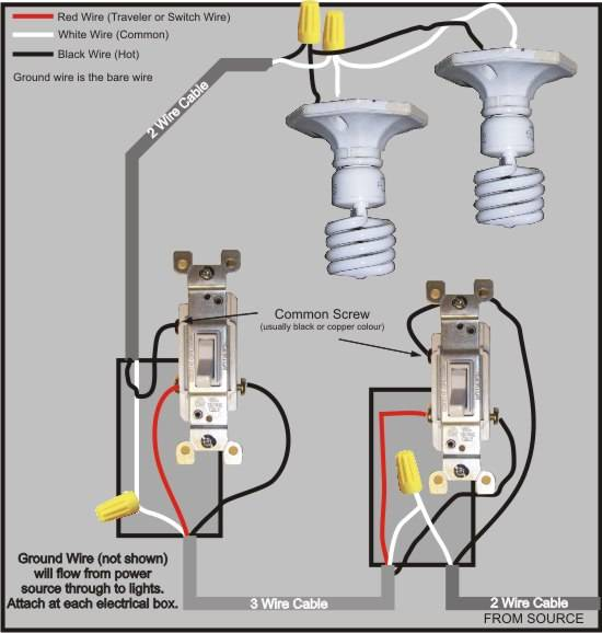 3 way switch wiring diagram rh easy do it yourself home improvements com 4-Way Switch Wiring Methods Wiring a 4 -Way Light Switch